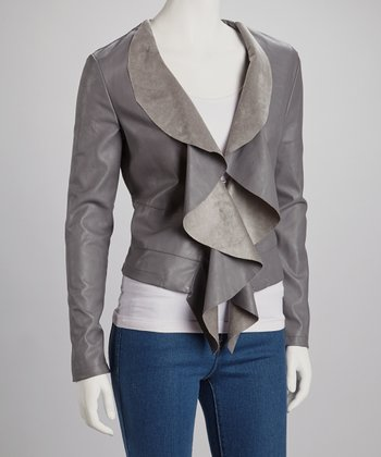 Gray Ruffle Jacket - Women