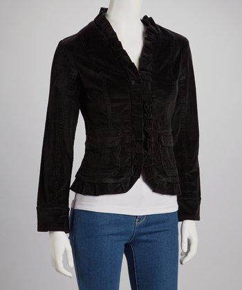 Black Ruffle Collar Jacket - Women