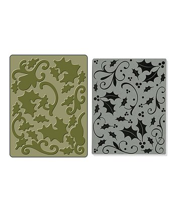 Hero Arts Holly Textured Impressions Embossing & Stamp Set