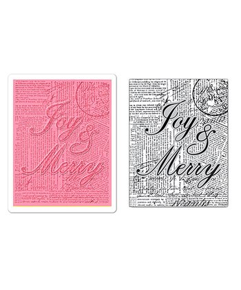 Hero Arts Merry Joy Textured Impressions Embossing & Stamp Set