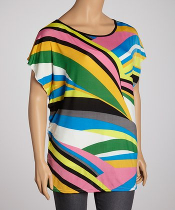 Lime & Pink Abstract Tunic - Plus