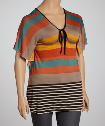 Lime & Coral Stripe Dolman Tunic - Plus