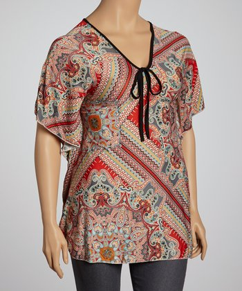 Red & Gray Paisley Dolman Tunic - Plus