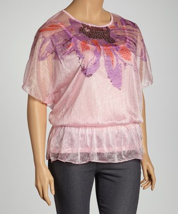 Pink & Purple Flower Dolman Top - Plus