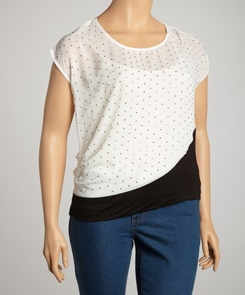 White & Black Sheer Rhinestone Dolman Top - Plus