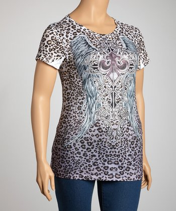 Gray Leopard Fleur-de-Lis Short-Sleeve Top - Plus