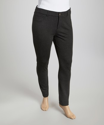 Charcoal Gray Ponte Skinny Pants - Plus