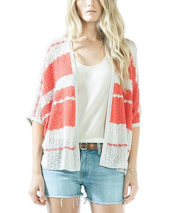 Poppy & Natural Flight Silk-Blend Open Cardigan