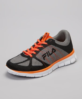 Pewter Gray & Orange Speedweave Running Sneaker - Kids