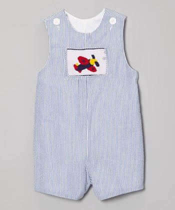 Blue Pinstripe Airplane Shortalls - Infant & Toddler