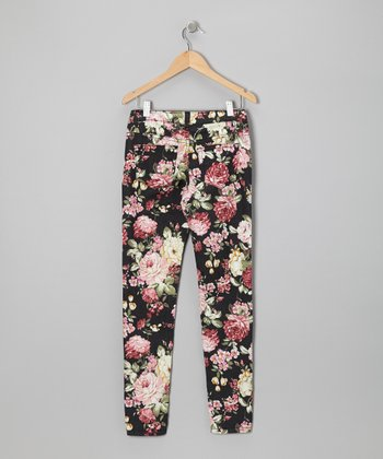 Black Floral Twill Jeans - Toddler & Girls