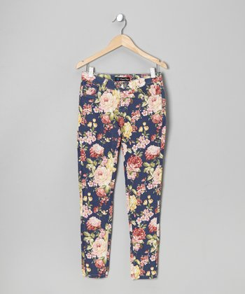 Navy Floral Twill Jeans - Toddler & Girls