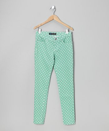 Mint Green Polka Dot Twill Jeans - Toddler