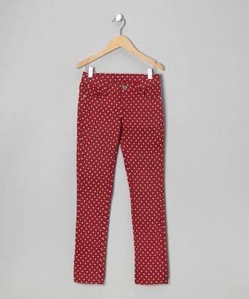 Burgandy Polka Dot Twill Jeans - Toddler