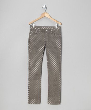 Gray Polka Dot Twill Jeans - Toddler & Girls