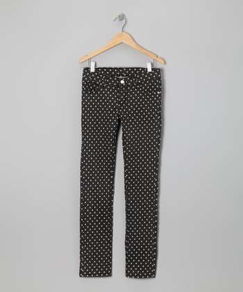 Black Polka Dot Twill Jeans - Toddler & Girls