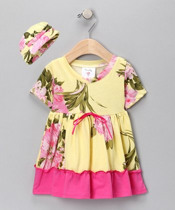 Palm Beach Floral Organic Dress & Beanie - Infant & Toddler