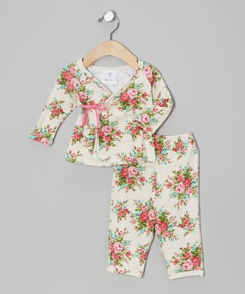 Pink Bouquet Roses Organic Wrap Top & Pants - Infant