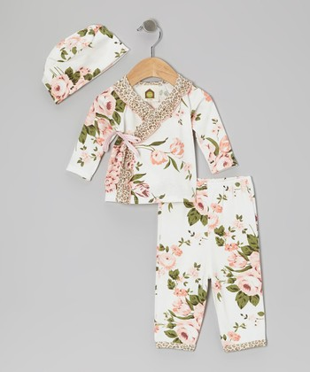 White Bridge Hampton Floral Organic Wrap Top & Pants - Infant