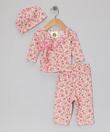 Pink Lil Liberty Baby Organic Wrap Top Set - Infant