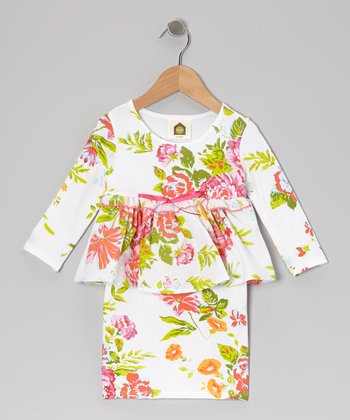 White Chelsea Garden Organic Peplum Dress - Toddler & Girls