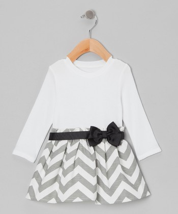 White & Gray Zigzag Dress - Infant & Toddler