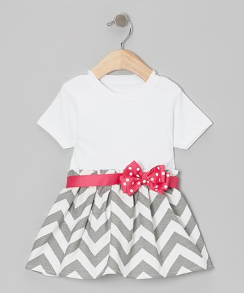 White & Gray Zigzag Bow Dress - Infant & Toddler