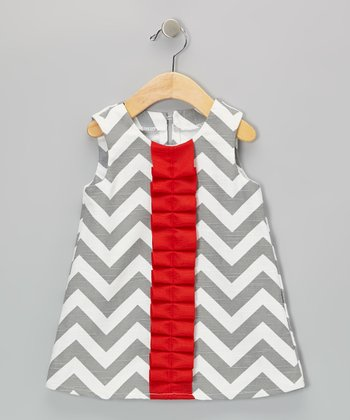 Gray & Red Zigzag Frill Dress - Infant & Toddler
