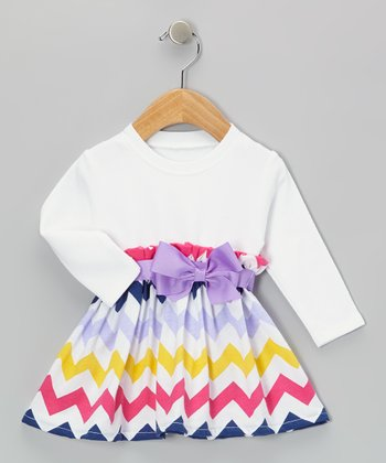 Rainbow & Purple Bow Zigzag Dress - Infant & Toddler