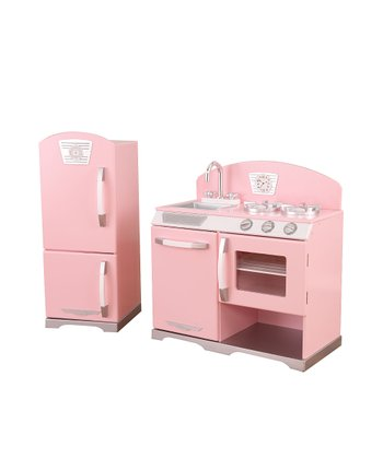 Pink Stove & Refrigerator Retro Kitchen Set