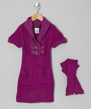 Purple Buckle Sweater Dress & Arm Warmers - Toddler & Girls