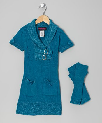 Teal Buckle Sweater Dress & Arm Warmers - Toddler & Girls