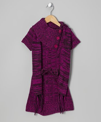 Purple Split-Neck Sweater Dress & Scarf - Infant, Toddler & Girls