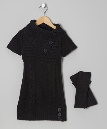 Black Cable-Knit Split-Neck Sweater Dress & Arm Warmers - Girls