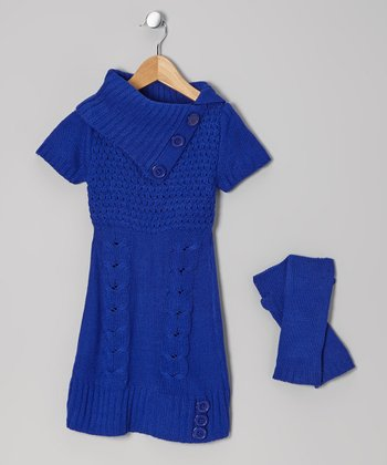 Blue Cable-Knit Split-Neck Sweater Dress & Arm Warmers - Girls