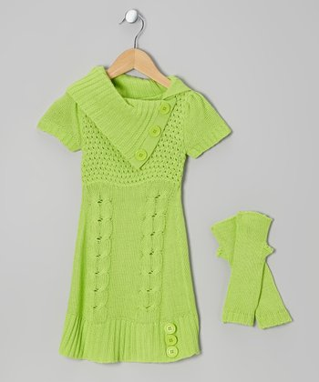 Lime Cable-Knit Split-Neck Sweater Dress & Arm Warmers - Girls