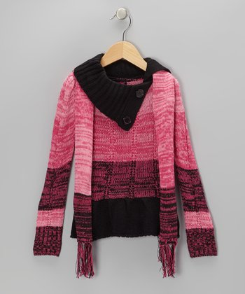 Fuchsia & Black Split-Neck Sweater & Scarf - Toddler & Girls
