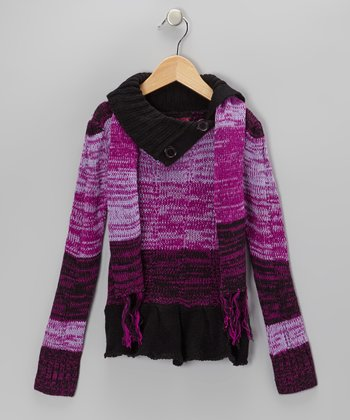 Purple & Black Split-Neck Sweater & Scarf - Toddler & Girls