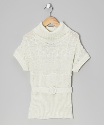 Cream Sparkle Belted Cowl Neck Sweater - Toddler & Girls