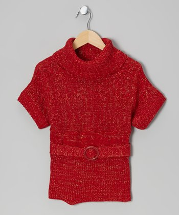 Red Sparkle Belted Cowl Neck Sweater - Toddler & Girls