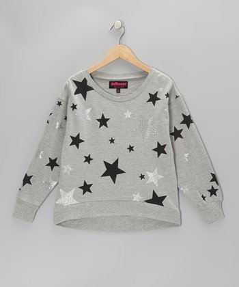 Gray Sparkle Star Sweatshirt - Girls
