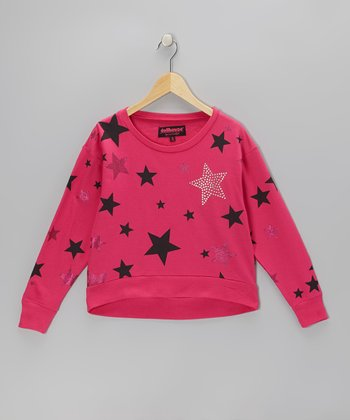 Fuchsia Sparkle Star Sweatshirt - Girls