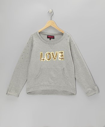 Gray Sequin 'Love' Sweatshirt - Girls