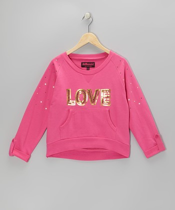 Pink Sequin 'Love' Sweatshirt - Girls