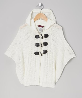 Cream Cable-Knit Hooded Toggle Cape - Girls