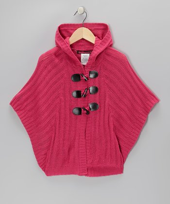 Magenta Cable-Knit Hooded Toggle Cape - Girls