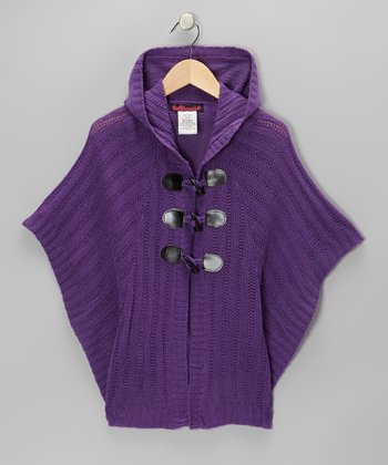 Purple Cable-Knit Hooded Toggle Cape - Girls