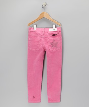 Pink Rhinestone Star Corduroy Pants - Girls