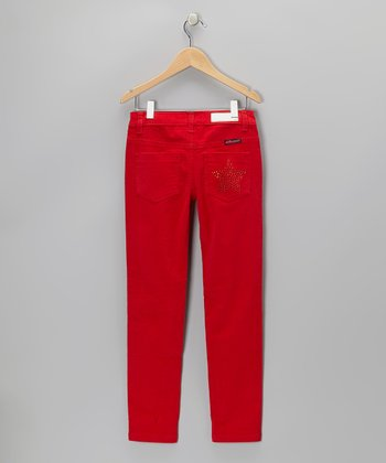 Red Rhinestone Star Corduroy Pants - Girls