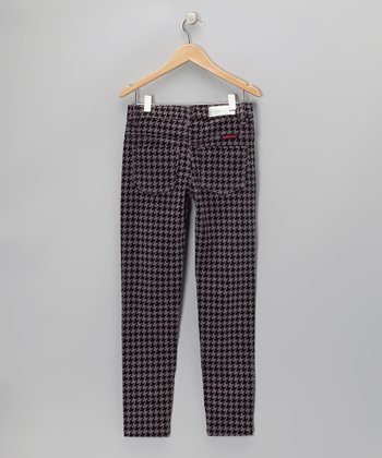 Gray Houndstooth Corduroy Pants - Girls
